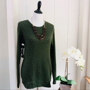 DKNYC Olive Green Basketweave Cotton Blend Sweater